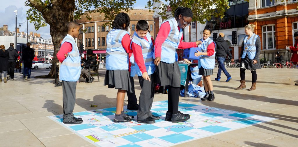 mayor of london air quality idling snakes + ladders game in action